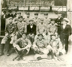 Houston&#039;s 1904 South Texas League team endured one of the most absurd seasons in the history of local sports. At right, in the suit and gangster hat, is league president and little person Bliss Gorham. Bud Adams-like team owner/manager Claude Rielly is seated in the second row. Can you imagine how hot and smelly those uniforms would have been in August?