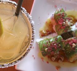 """Drinkertainment"":  Ra Sushi's mango margarita and crazy monkey roll."