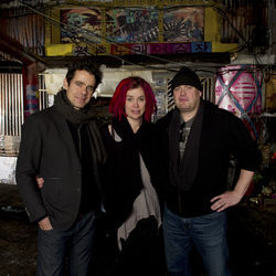 (L-r) Directors TOM TYKWER, LANA WACHOWSKI and ANDY WACHOWSKI on the set of the epic drama Cloud Atlas.