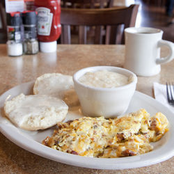 Texan breakfast with coffee at Pecan Creek Grille.