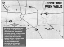"Working on the west side and living on the east side, Nelson spent a lot of time in his car. The long drives across Houston allowed him time ""to turn private thoughts into poetry."" Here are 11 significant points on the map of his Houston history. (Click to enlarge)"