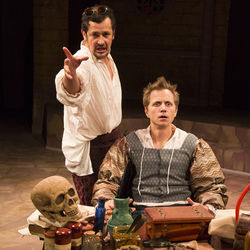 Luis Galindo as Dr. Faustus attempts to steer the mind of Ryan Schabach as Hamlet.