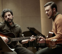 Oscar Isaac, left, and Justin Timberlake harmonize in Inside Llewyn Davis.